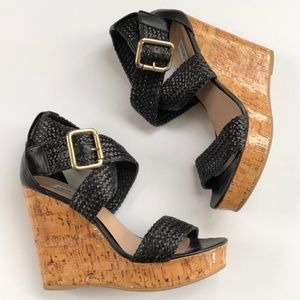 Steve Madden Black Strappy Cork Wedge Heels